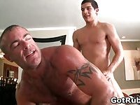 Lucky dude gets his stiff jizzster gay massaged