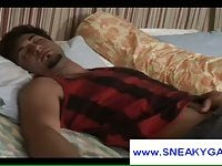 Sleeping straight stud touched by gay