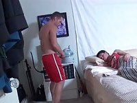 Sexy queer guy spying on his sleeping pal before making out him