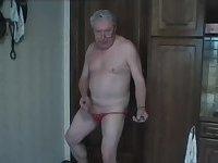 Old man jerks off alone