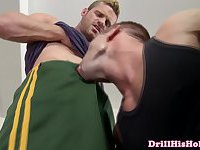 Muscular jock Jr Bronson has deep throat