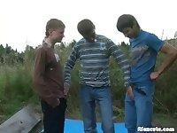 Cute Teens Threeway Outdoor Banging