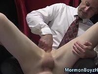 Toying amateur mormon cum