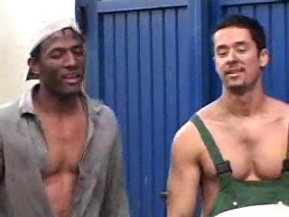 Lavish jizzing after trio buiders fucking