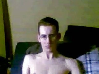 Slim Gay In Glasses Solo Masturbation