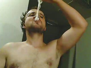 Filthy Webcam Gay Drinks Own Cum