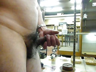 Ardent mature wanks his small dick