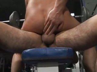 Filthy Gays Threeway Fuck In Gym