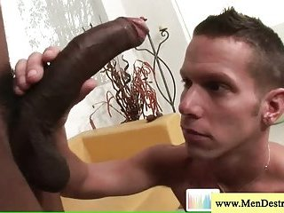 Black guy shows off his huge cock