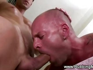 Masseuse giving straight guy a good sucking