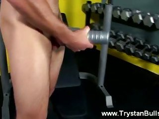 The fleshlight does the trick on his hard cock at the gym