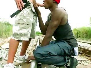 Black gangster tasting a white dick