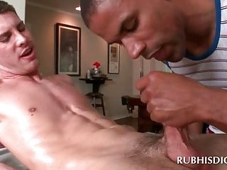 Interracial handjob with horny gays