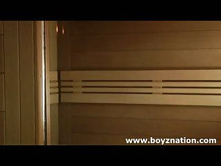 Two gay twinks in sauna suck and fuck