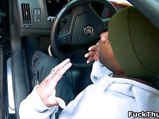 Nasty ghetto thug takes cumshot after blowing rigid schlong