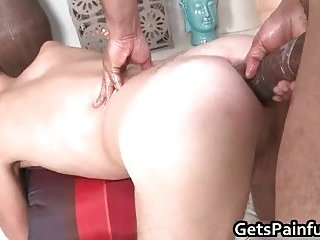 Attractive gay guy blows hard big fat black dick and gets pounde