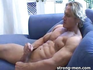 Curly Blond Whacking Off & Cumming