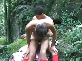 Horny Guys Fucking In A Wood