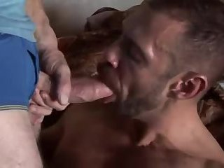 Tattooed gay swallows dude cock