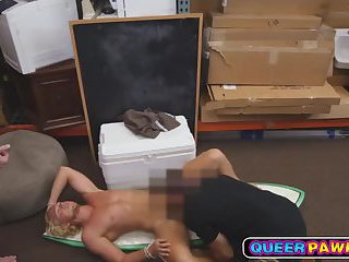 Blonde straight guy fucked by two gays in pawn shop
