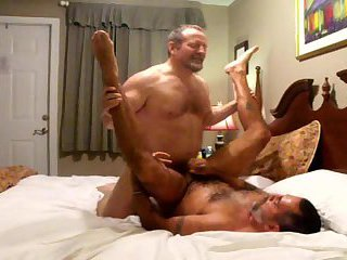 Horny Mature Stretching Boyfriend Ass on a Bed